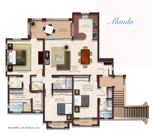 Floor Plan for Luxury Condo at Solarea Beach Resort Palmas del Mar
