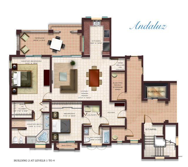 Floor Plan for Luxury 2 Bedroom Condo at Solarea Beach Resort