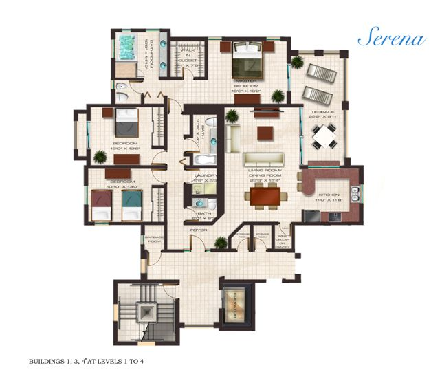 Floor Plan for Luxury 3 Bedroom Condo at Solarea Beach Resort